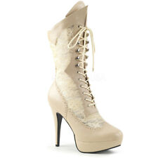 Discontinued PLEASER Pink Label Chloe-115 WIDE WIDTH Cream Drag Lace Boots 8-15