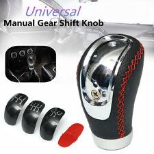 Universal PU Leather Manual Car Gear Stick Shift Knob Shifter W/ 5/6 Speed Cap