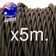 5m Dark Brown TWIST 3 core cord vintage style lighting cloth electrical fabric