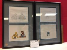 Droids Production Cell Pencil Drawing Set Animation C3PO R2D2 Framed W/ COA