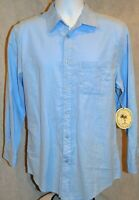 Boca Classics Island Wear Men's Long Sleeve Button Up Shirt Color Blue Size S
