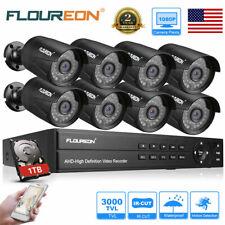 1Tb, 8Ch 1080P Hdmi Dvr 8x Outdoor 3000Tvl Cctv Security Camera Kit Night Vision