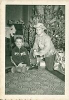 Vintage 1950's Photo of Brothers Little Boys at Christmas & Cowboy Jackets Hats