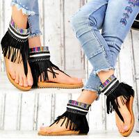 NEU Damen Schuhe Sommer Sandalen Riemchen Zehentrenner Fransen Ethno Look Style