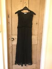 MAMAS & PAPAS Maternity 100% Silk Dress 16 Black Purple Midi
