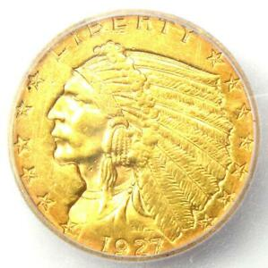 1927 Indian Gold Quarter Eagle $2.50 Coin - Certified ICG MS60 Details (UNC)