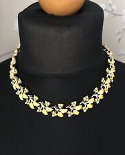 VINTAGE 1950s CORO YELLOW LEAVES BERRIES ENAMEL FAUX PEARL NECKLACE