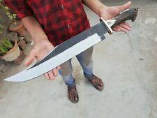 Blacksmith New Custom Handmade Die Tool Steel Long Bowie Knife, Stag Horn AE-014