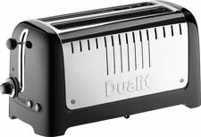 Dualit Lite 4 Slice Long Slot Toaster with Warming Rack Gloss Black 46025 NEW