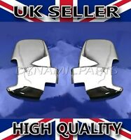 FORD TRANSIT MK8 CHROME WING SIDE MIRROR COVERS SURROUNDS CAPS SET 2PCS ABS