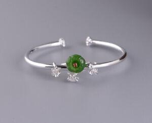 I05 Bracelet Argent 925 Pétales Verte Jaspe Et Rouge Zircon Cristal