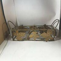 Vintage Brass Grape Vine Handled Basket
