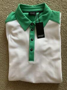 Original BNWT Men's Galvin Green Golf Polo shirt, White/Green - Size: Large