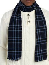 ALAN FLUSSER 100% Merino Wool SCARF Checked Navy Blue Plaid NWT