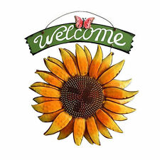 Vintage Hanging Butterfly Sunflower Welcome Sign Door Home Yard Bar Wall Decor