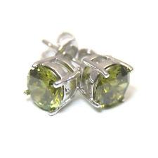 Diamond-Unique 4 Claw Peridot Studs Sterling Silver