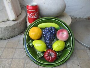 "Vintage Palissy Majolica Lemons & Fruits Large Plate 11"" Bordallo School"