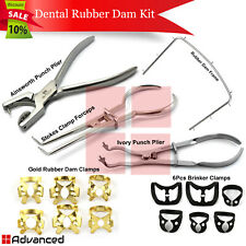 Dental Rubber Dam Kit Brinker Clamps Winged Tissue Retractors Tooth Retainers Ce