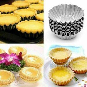 10PCS Egg Tart Aluminum Cupcake Cake Cookie Flower Mold Mould Tin Baking Tool