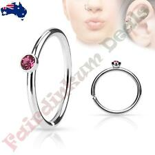 316L Surgical Steel Nose Ring Cut Hoop with Tiny Side Set Pink CZ Gem