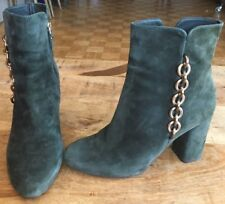 VIA SPIGA PINE GREEN SUEDE WITH GOLD CHAINS DETAIL ANKLE BOOTS SZ 9 US
