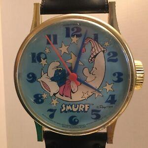 Vintage Rare 1984 Smurfs Bradley Quartz Wall Oversized Wristwatch Clock Works