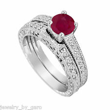 RUBY AND DIAMOND ENGAGEMENT RING WEDDING BAND SETS VINTAGE STYLE 14K WHITE GOLD