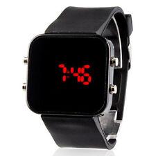 Unisex Red LED Jumbo Square Mirror Face Silicone Band Wrist Fashion Watch Black