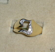 """SOLID    14K Gold    DIAMOND   Initial  """" T """"  Signet    Ring"""