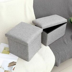 Storage Stool for Compact Living Rectangular Stool Storage for Home Decor Gray