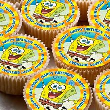 24 icing cake cupcake fairy toppers decorations Spongebob  Happy Birthday