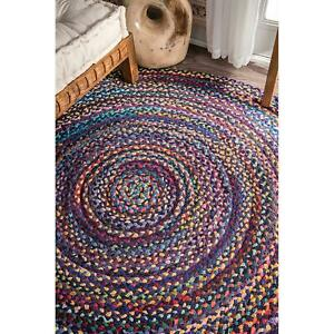 Rug Multi-Color Round Chindi Cotton Braided Floor Decor Hand Woven Rugs 4X4 Feet