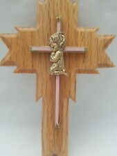 Oak Wall Cross Pink/Brass Praying Girl First Communion Baptism Christening Gift