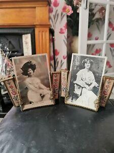 Fabulous Pair Vintage  Petit Point Vanity/Dressing Table Picture Frames