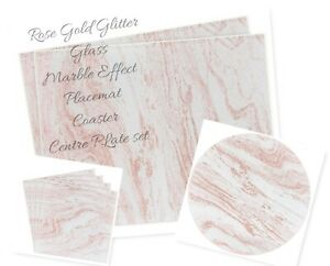 NEW Rose gold glitter glass placemats and  coaster by LEONARDO COLLECTION