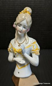 Reproduction Germany Half Doll, Jenny Lind style mold, Beautifully painted.