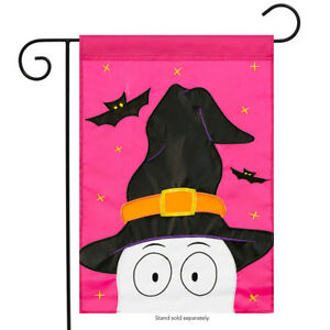 "Peeking Ghost Halloween Applique Garden Flag Witch Embroidered 13"" x 18"""