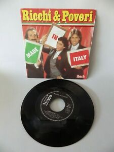 45 RPM Ricchi & Poveri Made IN Italy Vinyl Disk Vintage Music