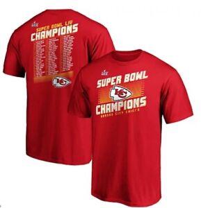 NWT 2XL 2-Sided Kansas City Chiefs Super Bowl LIV Champions w/Roster Red T-shirt