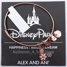 NEW Disney Parks Alex Ani Mickey Snowflake Christmas ROSE GOLD Bangle Bracelet