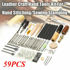 59Pcs Leather Craft Working Tools Kit Hand Sewing Supplies Stitching Groover Set