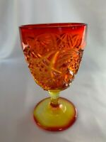 """Vintage Pineapple Amberina Goblet 6"""" Tall Rare L. G. Wright Gorgeous Color"""