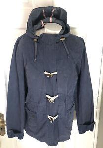 Fat Face Blue Waterproof Jacket Lightweight Zip Toggles Hood Nautical Size 18