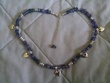 "Amethyst Beads and Hearts 17"" Necklace with extension chain"