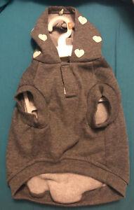 Top Paw Apparel Size Medium Dog clothes Fleece Gray Heart Hoodie