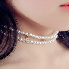 Exquisite Double Layers Beaded Imitation Pearl Chocker Necklace Jewelry BY US