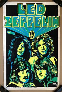 Led Zeppelin Original Vintage Blacklight Poster 1969 Beeghly 1960s Music Pinup