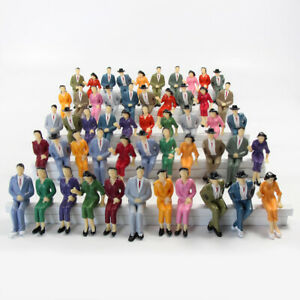 50pcs Model Train G scale Sitting Figures 1:25 Painted Seated People 4 Poses