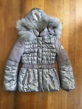 Monnalisa Chic Winter Jacket Real Fox Fur Trim Size Large 16 Years 170 Cm