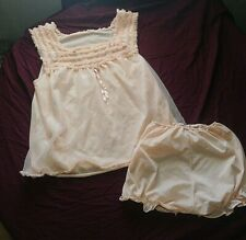 Vintage Babydoll Lingerie Nighty Top and Panty Set Size Large Peach Color #28